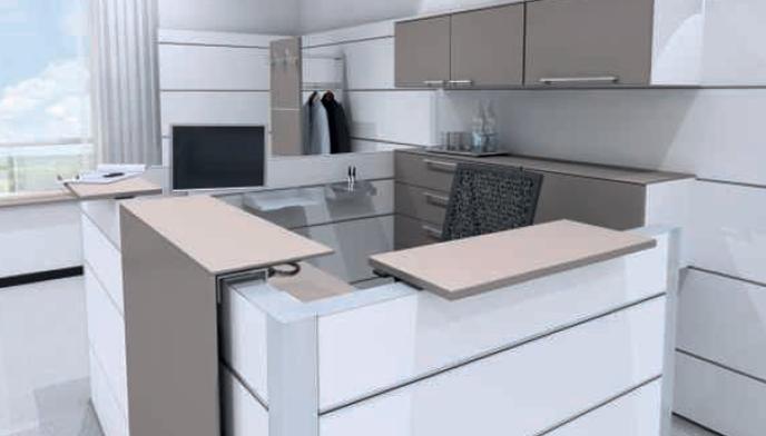 Abstellflächen und Winkelauflage im Wunschdekor (hier: stone grey)