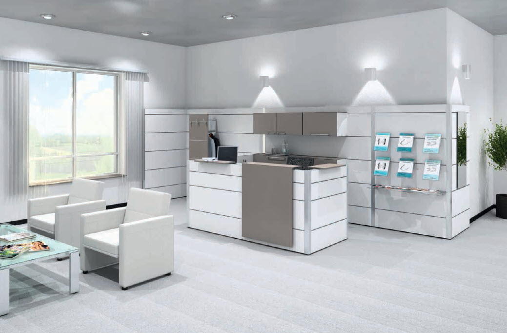 freistehender Multiwa Empfang mit Wartebereich; Lounge S1, Einsitzer